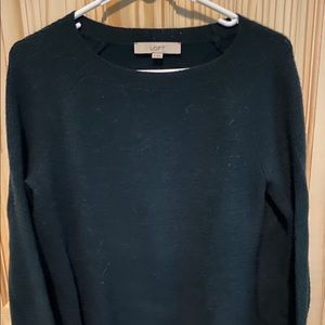 Loft deep green bell-sleeved sweater
